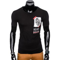 T-SHIRT MĘSKI Z NADRUKIEM S984 - CZARNY. Czarne t-shirty męskie z nadrukiem marki Ombre Clothing, m. Za 29,00 zł.