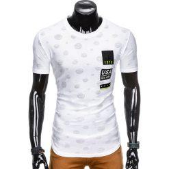 T-shirty męskie: T-SHIRT MĘSKI Z NADRUKIEM S863 – BIAŁY