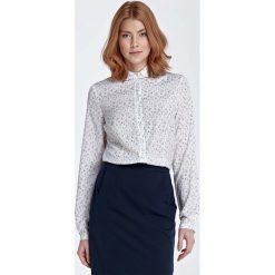 Bluzka Koszulowa z Okrągłym Kołnierzykiem - Łączka. Białe bluzki damskie Molly.pl, xl, z jeansu, z koszulowym kołnierzykiem, z długim rękawem. Za 118,90 zł.