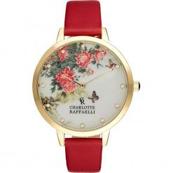 """Zegarek kwarcowy """"Floral"""" w kolorze czerwono-kremowo-złotym. Czerwone, analogowe zegarki damskie Stylowe zegarki, złote. W wyprzedaży za 127,95 zł."""