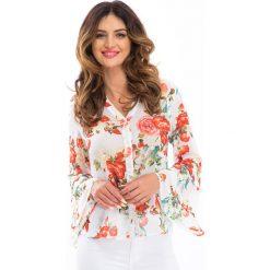 Bluzki asymetryczne: Kremowa szyfonowa bluzka w kwiaty 8308