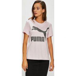Puma - Top. Szare topy damskie Puma, l, z nadrukiem, z bawełny, z okrągłym kołnierzem. W wyprzedaży za 99,90 zł.