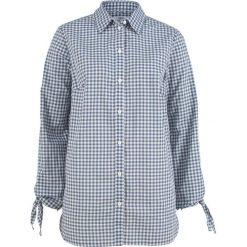 Bluzki damskie: Bluzka bawełniana z ozdobnym wiązaniem, długi rękaw bonprix indygo-biel wełny w paski