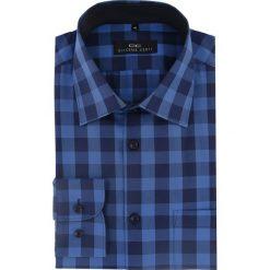 Koszula APOLLO 16-04-35-K. Niebieskie koszule męskie jeansowe marki Giacomo Conti, m, z włoskim kołnierzykiem, z długim rękawem. Za 199,00 zł.