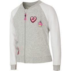 Bluza dla dużych dziewcząt JBLD207 - biały. Białe bluzy dziewczęce rozpinane marki 4F JUNIOR, z aplikacjami, z bawełny. Za 49,99 zł.