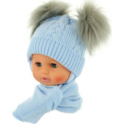 Czapka niemowlęca z szalikiem CZ+S 016E. Szare czapeczki niemowlęce Proman. Za 47,14 zł.