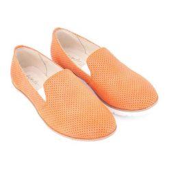 Creepersy damskie: Skórzane półbuty w kolorze pomarańczowym