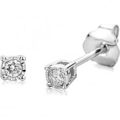 Złote kolczyki-wkrętki z diamentami. Szare kolczyki damskie REVONI, z diamentem, złote. W wyprzedaży za 560,95 zł.