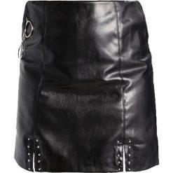 Spódniczki: Missguided Plus FRONT SPLITS STUD DETAIL CIRCLE HARDWARE Spódnica mini black