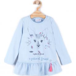 Koszulka. Niebieskie bluzki dziewczęce bawełniane marki bonprix, z długim rękawem, długie. Za 34,90 zł.