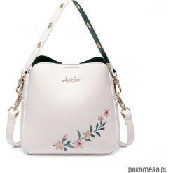 Kuferki damskie: JUST STAR biały kuferek z motywem kwiatowym