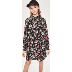 Sukienki dziewczęce: Sukienka w kwiaty z kołnierzykiem – Biały