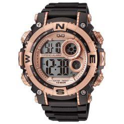 Biżuteria i zegarki męskie: Zegarek Q&Q Męski M133-004 Dual Time czarno-złoty
