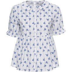 Bluzki damskie: Bluzka z zaokrąglonym kołnierzykiem bonprix biało-niebieski z nadrukiem