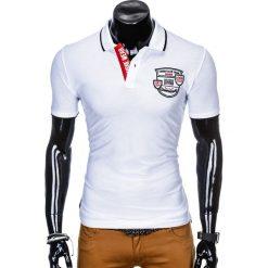 KOSZULKA MĘSKA POLO Z NADRUKIEM S905 - BIAŁA. Białe koszulki polo Ombre Clothing, m, z nadrukiem. Za 55,00 zł.