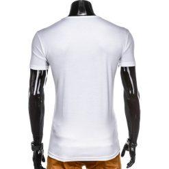 T-shirty męskie: T-SHIRT MĘSKI Z NADRUKIEM S859 – BIAŁY