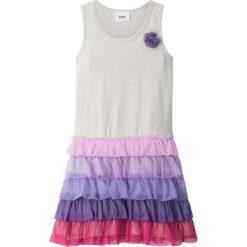 Sukienki dziewczęce: Sukienka z falbanami bonprix naturalny melanż – lila