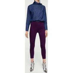 Mango - Spodnie Newbasic. Niebieskie rurki damskie Mango, z bawełny. W wyprzedaży za 49,90 zł.
