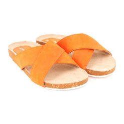 Chodaki damskie: Skórzane klapki w kolorze pomarańczowym