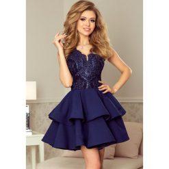 Sabrina - ekskluzywna sukienka z koronkowym dekoltem - GRANATOWA. Niebieskie sukienki koronkowe marki numoco, na imprezę, s, w kwiaty, sportowe, sportowe. Za 251,90 zł.