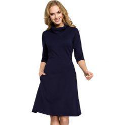 RACHELE Sukienka z golfem - granatowa. Niebieskie sukienki balowe marki Moe, z dzianiny, z golfem. Za 136,99 zł.