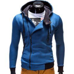 Bluzy męskie: BLUZA MĘSKA ROZPINANA Z KAPTUREM B297 – NIEBIESKA