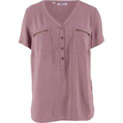 Bluzka z wiskozy, krótki rękaw bonprix matowy fioletowy. Fioletowe bluzki z odkrytymi ramionami marki bonprix, z wiskozy, z krótkim rękawem. Za 59,99 zł.