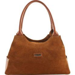 Torebki klasyczne damskie: Skórzana torebka w kolorze brązowym – (S)38 x (W)15 x (G)22 cm