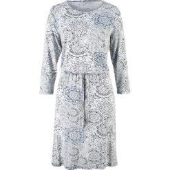 Sukienki: Sukienka z rękawami 3/4 bonprix srebrnoszary z nadrukiem