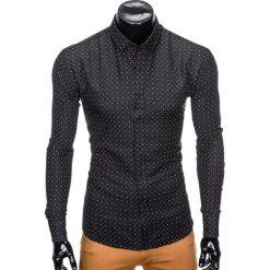 Koszule męskie na spinki: KOSZULA MĘSKA ELEGANCKA Z DŁUGIM RĘKAWEM K414 – CZARNA