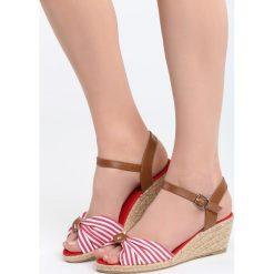 Sandały damskie: Czerwone Sandały Matelot