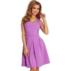 Sukienki: Sukienka z Szerokim Dołem w Kontrafałdy - Lila