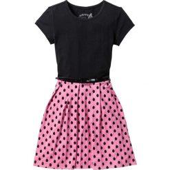 Sukienki dziewczęce: Sukienka z paskiem bonprix czarno-jaskrawy jasnoróżowy