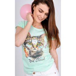 T-shirty damskie: T-shirt z kotem w pióropuszu