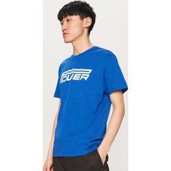 T-shirty męskie z nadrukiem: T-shirt z nadrukiem power – Niebieski