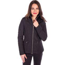 Kurtki damskie: Czarna prosta kurtka z przeszyciami QUIOSQUE
