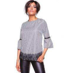 """Koszulka """"Kelly"""" w kolorze czarno-białym. Białe bluzki damskie La Belle Française, s, w paski, z okrągłym kołnierzem. W wyprzedaży za 152,95 zł."""