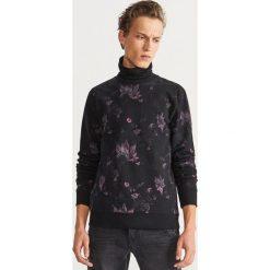 Bluza z kwiecistym nadrukiem - Czarny. Czarne bluzy męskie rozpinane marki Harp Team, xl, z nadrukiem, z bawełny. Za 139,99 zł.