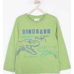 Koszulka. Zielone t-shirty chłopięce z długim rękawem DINOSAUR, z aplikacjami, z bawełny. Za 45,90 zł.