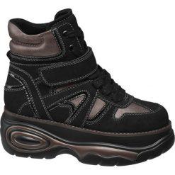 Sneakersy na platformie Catwalk czarne. Czarne sneakersy damskie Catwalk, z materiału. Za 139,90 zł.