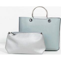 Parfois - Torebka. Szare torebki klasyczne damskie marki Parfois, w paski, z materiału, duże. Za 99,90 zł.