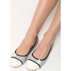 Szare Balerinki White Daisy. Białe baleriny damskie lakierowane Born2be, ze skóry, na płaskiej podeszwie. Za 39,99 zł.