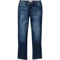 """Dżinsy """"power-stretch"""" ze specjalnym krojem talii bonprix ciemnoniebieski """"used"""". Niebieskie jeansy męskie regular bonprix. Za 109,99 zł."""