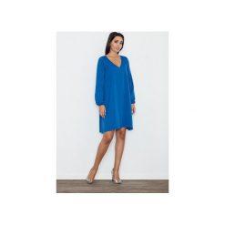 Sukienka M566 Niebieski. Szare sukienki na komunię marki FIGL, m, z bawełny, eleganckie, z asymetrycznym kołnierzem, z długim rękawem. Za 149,00 zł.