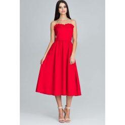 Czerwona Wieczorowa Midi Sukienka Gorsetowa z Falbankami. Brązowe sukienki balowe marki Reserved, m, z gorsetem, gorsetowe. Za 194,90 zł.