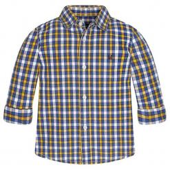 Koszula w kolorze niebiesko-biało-żółtym. Białe koszule chłopięce marki Mayoral, w kratkę, z klasycznym kołnierzykiem. W wyprzedaży za 59,95 zł.