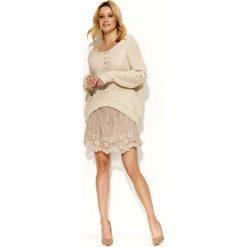 Swetry damskie: Beżowy Sweter Krótki z Dużym Dekoltem V