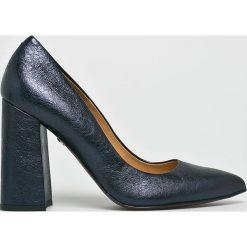 Solo Femme - Czółenka. Szare buty ślubne damskie marki Solo Femme, z materiału, na obcasie. Za 349,90 zł.