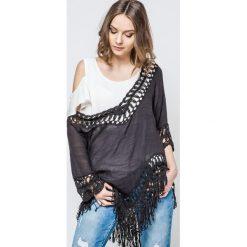 Bluzki damskie: Bluzka zdobiona szydełkowymi wstawkami i frędzlami czarna