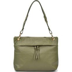 Torebki klasyczne damskie: Skórzana torebka w kolorze zielonym – (S)33 x (W)25 x (G)10 cm